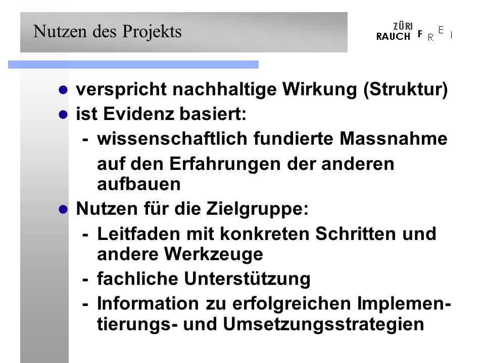 Nutzen des Projekts verspricht nachhaltige Wirkung (Struktur) ist Evidenz basiert: -wissenschaftlich fundierte Massnahme -auf den Erfahrungen der anderen aufbauen Nutzen für die Zielgruppe: - Leitfaden mit konkreten Schritten und andere Werkzeuge - fachliche Unterstützung - Information zu erfolgreichen Implemen- tierungs- und Umsetzungsstrategien