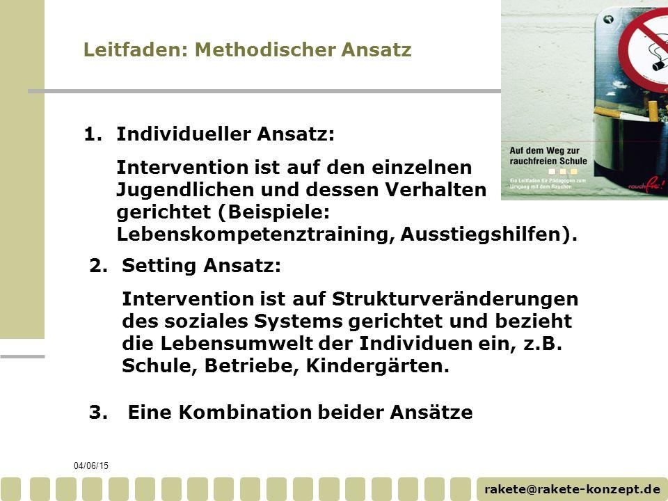 rakete@rakete-konzept.de 04/06/15 Leitfaden: Methodischer Ansatz 2.Setting Ansatz: Intervention ist auf Strukturveränderungen des soziales Systems gerichtet und bezieht die Lebensumwelt der Individuen ein, z.B.
