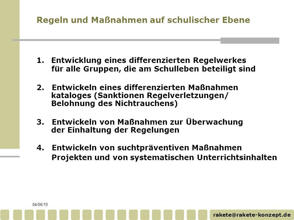 rakete@rakete-konzept.de 04/06/15 4. Entwickeln von suchtpräventiven Maßnahmen Projekten und von systematischen Unterrichtsinhalten Regeln und Maßnahm