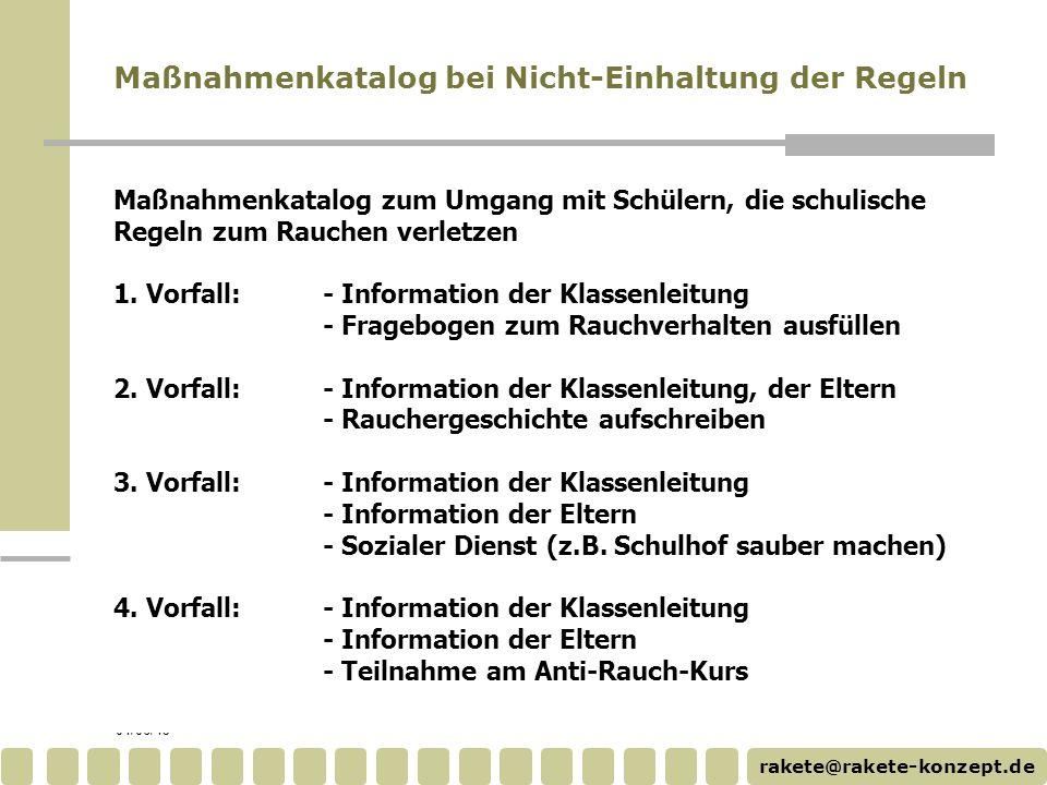 rakete@rakete-konzept.de 04/06/15 Maßnahmenkatalog zum Umgang mit Schülern, die schulische Regeln zum Rauchen verletzen 1. Vorfall: - Information der