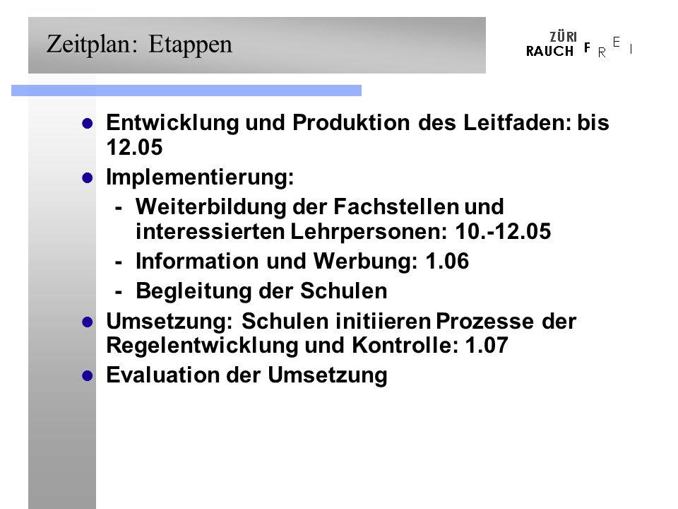Zeitplan: Etappen Entwicklung und Produktion des Leitfaden: bis 12.05 Implementierung: -Weiterbildung der Fachstellen und interessierten Lehrpersonen: