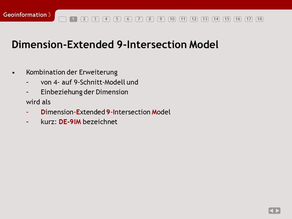 123456789101112131415161718 Geoinformation3 1 Dimension-Extended 9-Intersection Model Kombination der Erweiterung –von 4- auf 9-Schnitt-Modell und –Ei