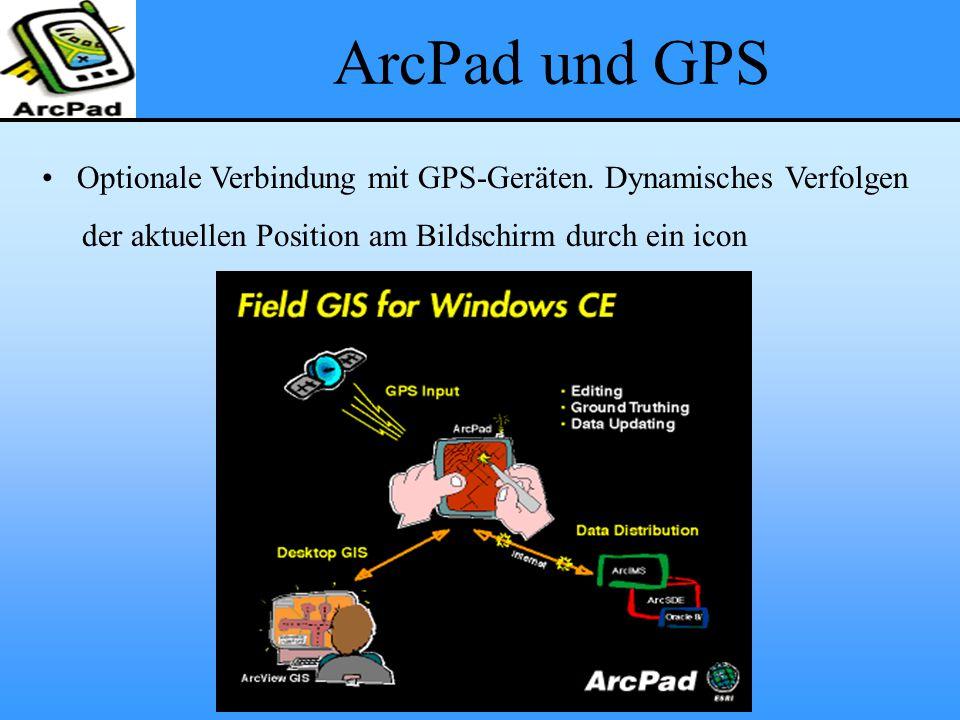 ArcPad und GPS Optionale Verbindung mit GPS-Geräten. Dynamisches Verfolgen der aktuellen Position am Bildschirm durch ein icon