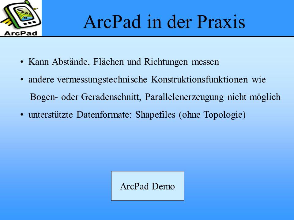 ArcPad in der Praxis Kann Abstände, Flächen und Richtungen messen andere vermessungstechnische Konstruktionsfunktionen wie Bogen- oder Geradenschnitt,