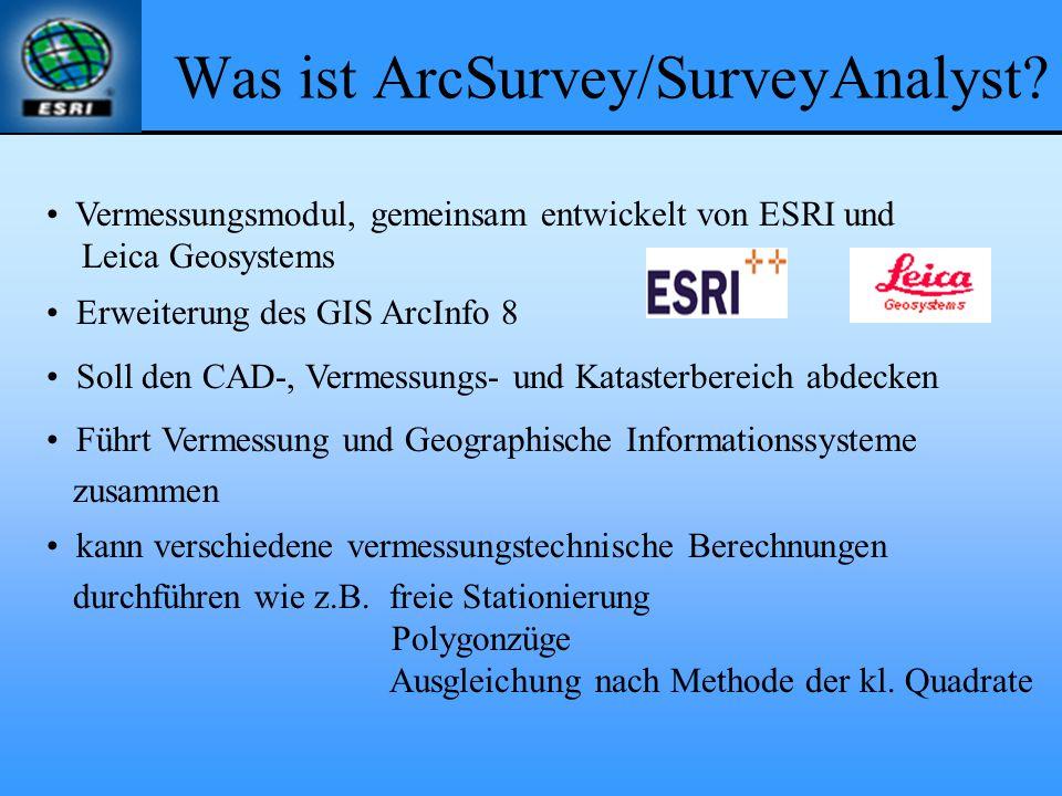 Was ist ArcSurvey/SurveyAnalyst? Vermessungsmodul, gemeinsam entwickelt von ESRI und Leica Geosystems Erweiterung des GIS ArcInfo 8 Soll den CAD-, Ver