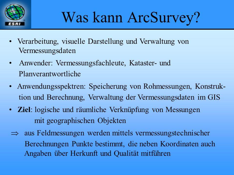 Was kann ArcSurvey? Verarbeitung, visuelle Darstellung und Verwaltung von Vermessungsdaten Anwender: Vermessungsfachleute, Kataster- und Planverantwor
