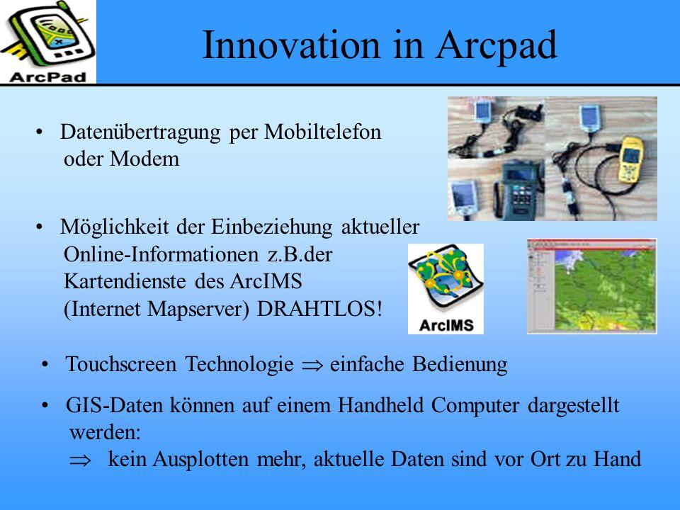 Innovation in Arcpad Datenübertragung per Mobiltelefon oder Modem Möglichkeit der Einbeziehung aktueller Online-Informationen z.B.der Kartendienste des ArcIMS (Internet Mapserver) DRAHTLOS.