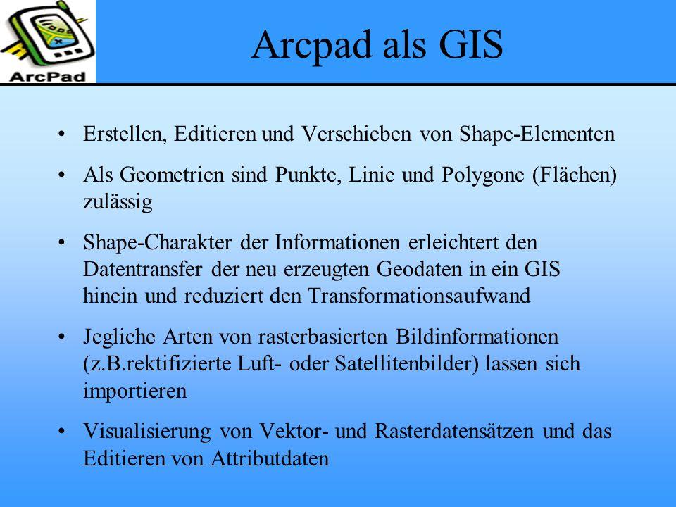 Arcpad als GIS Erstellen, Editieren und Verschieben von Shape-Elementen Als Geometrien sind Punkte, Linie und Polygone (Flächen) zulässig Shape-Charakter der Informationen erleichtert den Datentransfer der neu erzeugten Geodaten in ein GIS hinein und reduziert den Transformationsaufwand Jegliche Arten von rasterbasierten Bildinformationen (z.B.rektifizierte Luft- oder Satellitenbilder) lassen sich importieren Visualisierung von Vektor- und Rasterdatensätzen und das Editieren von Attributdaten