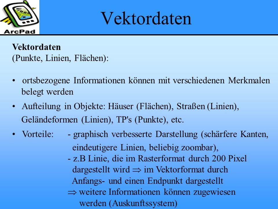 Vektordaten (Punkte, Linien, Flächen): ortsbezogene Informationen können mit verschiedenen Merkmalen belegt werden Aufteilung in Objekte: Häuser (Fläc