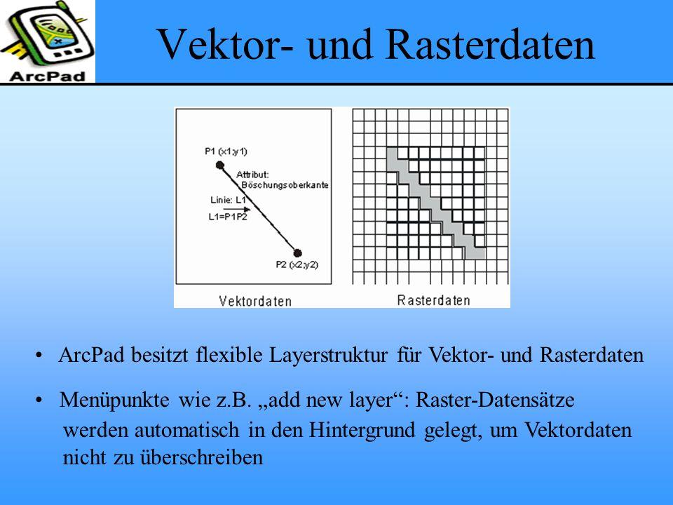 """Vektor- und Rasterdaten ArcPad besitzt flexible Layerstruktur für Vektor- und Rasterdaten Menüpunkte wie z.B. """"add new layer"""": Raster-Datensätze werde"""