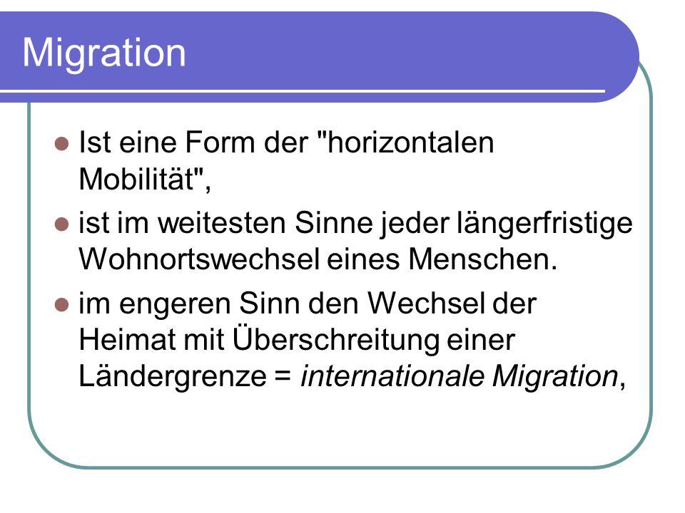 Migration Ist eine Form der horizontalen Mobilität , ist im weitesten Sinne jeder längerfristige Wohnortswechsel eines Menschen.