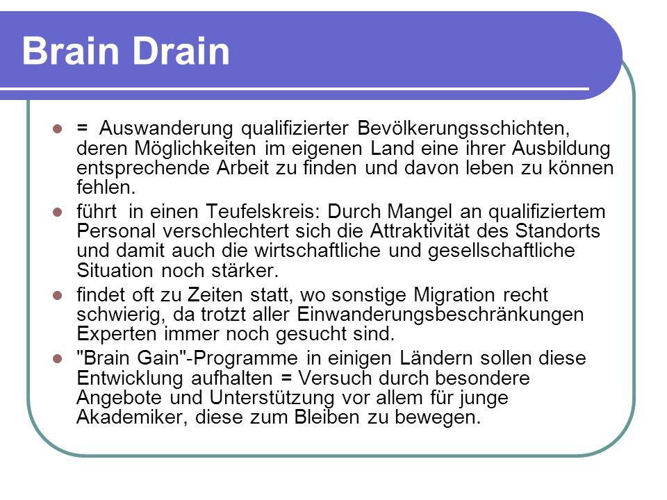 Brain Drain = Auswanderung qualifizierter Bevölkerungsschichten, deren Möglichkeiten im eigenen Land eine ihrer Ausbildung entsprechende Arbeit zu finden und davon leben zu können fehlen.