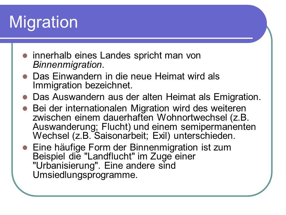 Migration innerhalb eines Landes spricht man von Binnenmigration. Das Einwandern in die neue Heimat wird als Immigration bezeichnet. Das Auswandern au