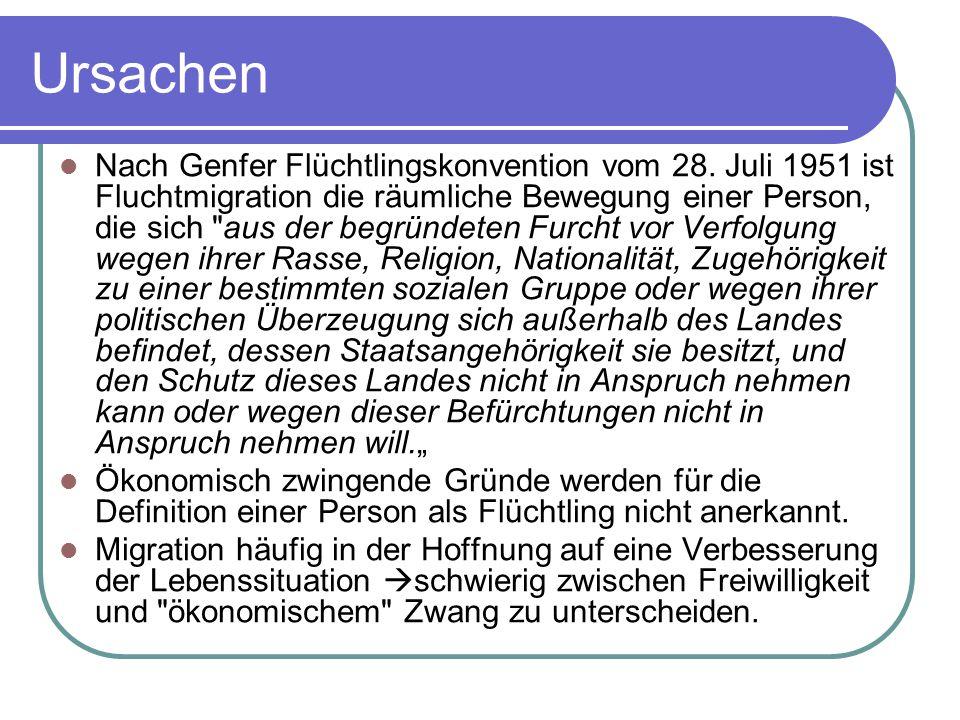 Ursachen Nach Genfer Flüchtlingskonvention vom 28. Juli 1951 ist Fluchtmigration die räumliche Bewegung einer Person, die sich