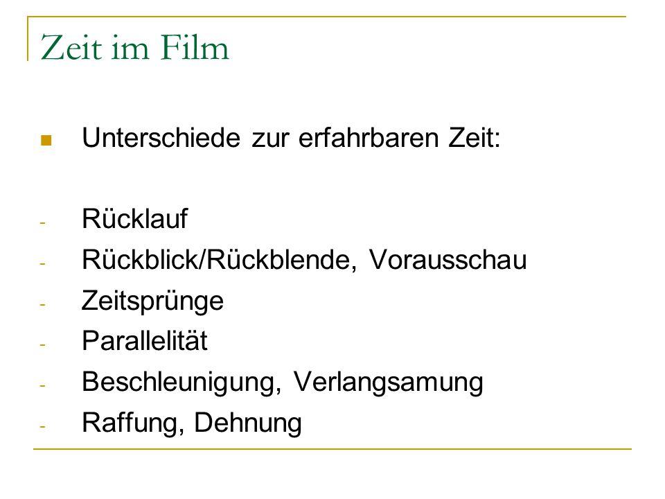 Zeit im Film Unterschiede zur erfahrbaren Zeit: - Rücklauf - Rückblick/Rückblende, Vorausschau - Zeitsprünge - Parallelität - Beschleunigung, Verlangs
