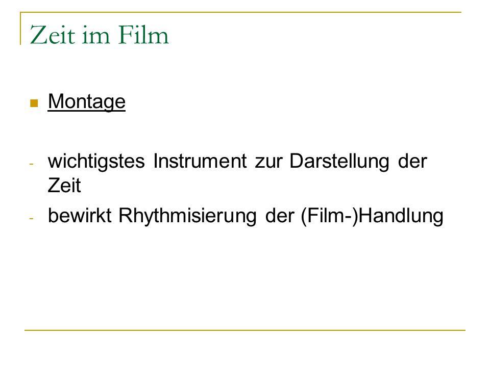 Zeit im Film Montage - wichtigstes Instrument zur Darstellung der Zeit - bewirkt Rhythmisierung der (Film-)Handlung