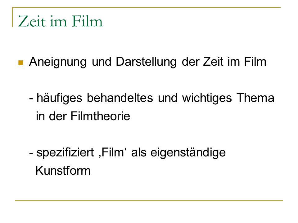 Aneignung und Darstellung der Zeit im Film - häufiges behandeltes und wichtiges Thema in der Filmtheorie - spezifiziert 'Film' als eigenständige Kunst