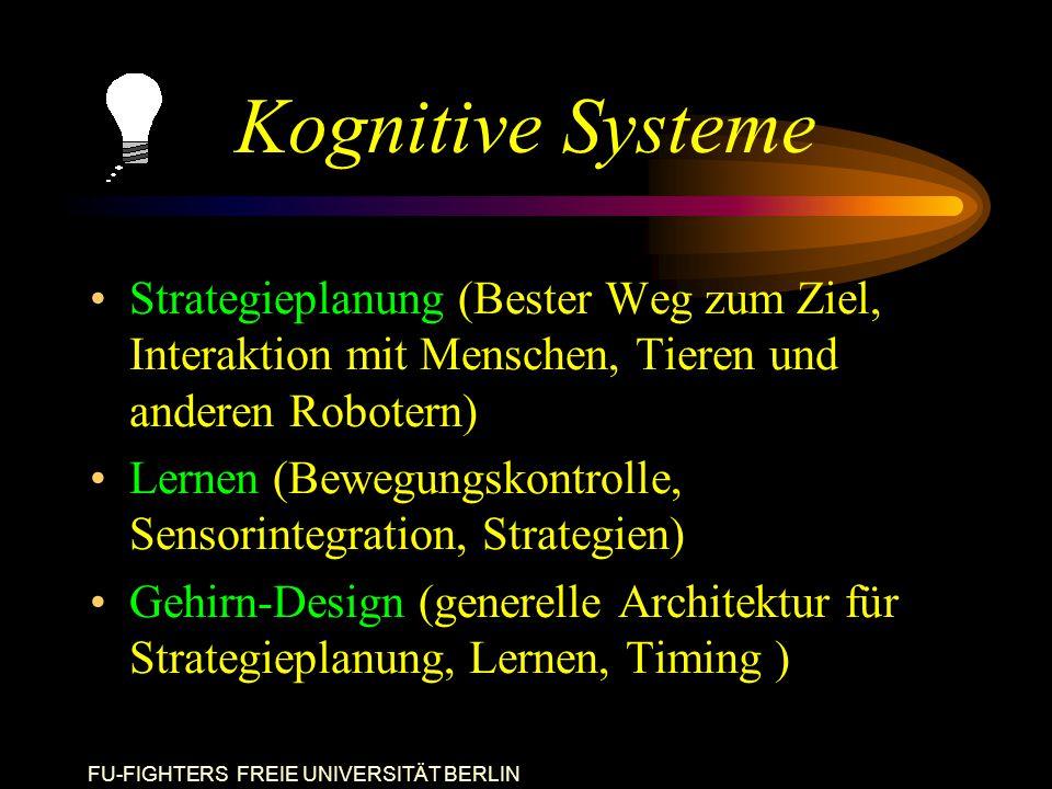 FU-FIGHTERS FREIE UNIVERSITÄT BERLIN Kognitive Systeme Strategieplanung (Bester Weg zum Ziel, Interaktion mit Menschen, Tieren und anderen Robotern) Lernen (Bewegungskontrolle, Sensorintegration, Strategien) Gehirn-Design (generelle Architektur für Strategieplanung, Lernen, Timing )