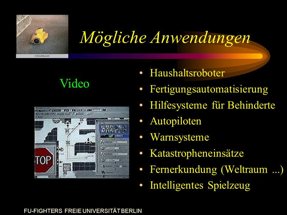 FU-FIGHTERS FREIE UNIVERSITÄT BERLIN Mögliche Anwendungen Haushaltsroboter Fertigungsautomatisierung Hilfesysteme für Behinderte Autopiloten Warnsysteme Katastropheneinsätze Fernerkundung (Weltraum...) Intelligentes Spielzeug Video