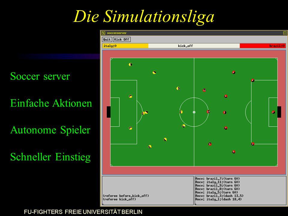 FU-FIGHTERS FREIE UNIVERSITÄT BERLIN Die Simulationsliga Soccer server Einfache Aktionen Autonome Spieler Schneller Einstieg
