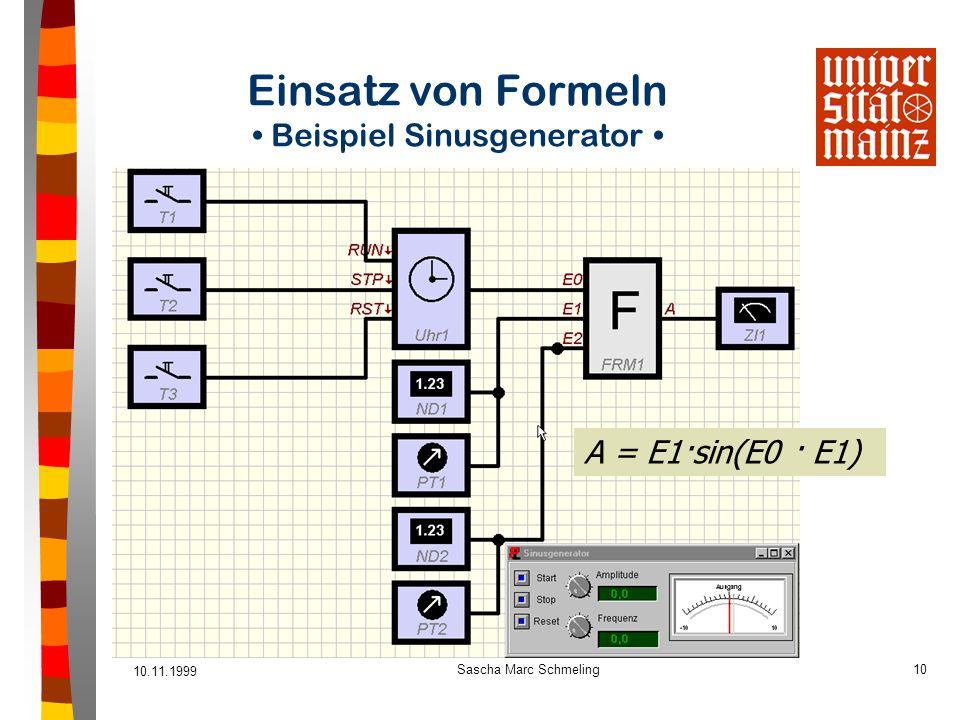 10.11.1999 Sascha Marc Schmeling10 Einsatz von Formeln Beispiel Sinusgenerator A = E1·sin(E0 · E1)