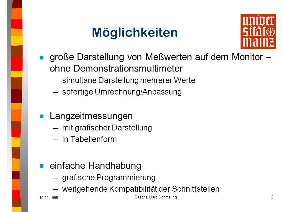 10.11.1999 Sascha Marc Schmeling2 Möglichkeiten n große Darstellung von Meßwerten auf dem Monitor – ohne Demonstrationsmultimeter –simultane Darstellu