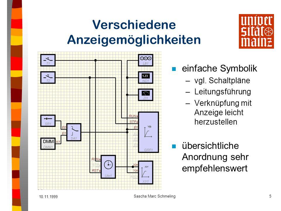 10.11.1999 Sascha Marc Schmeling5 Verschiedene Anzeigemöglichkeiten n einfache Symbolik –vgl. Schaltpläne –Leitungsführung –Verknüpfung mit Anzeige le