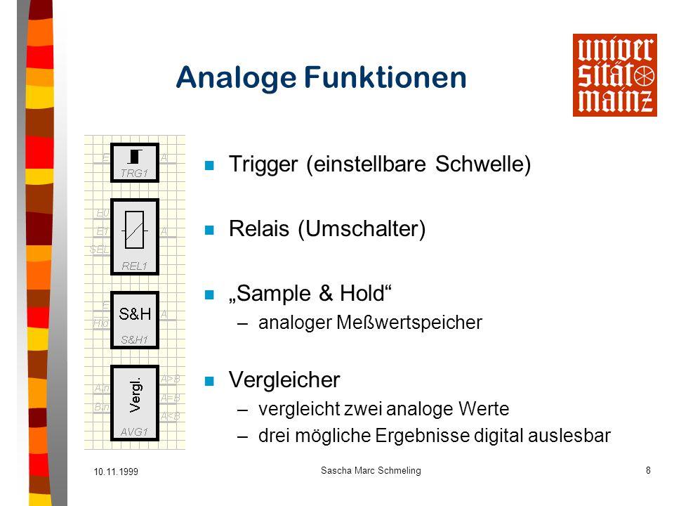 """10.11.1999 Sascha Marc Schmeling8 Analoge Funktionen n Trigger (einstellbare Schwelle) n Relais (Umschalter) n """"Sample & Hold"""" –analoger Meßwertspeich"""