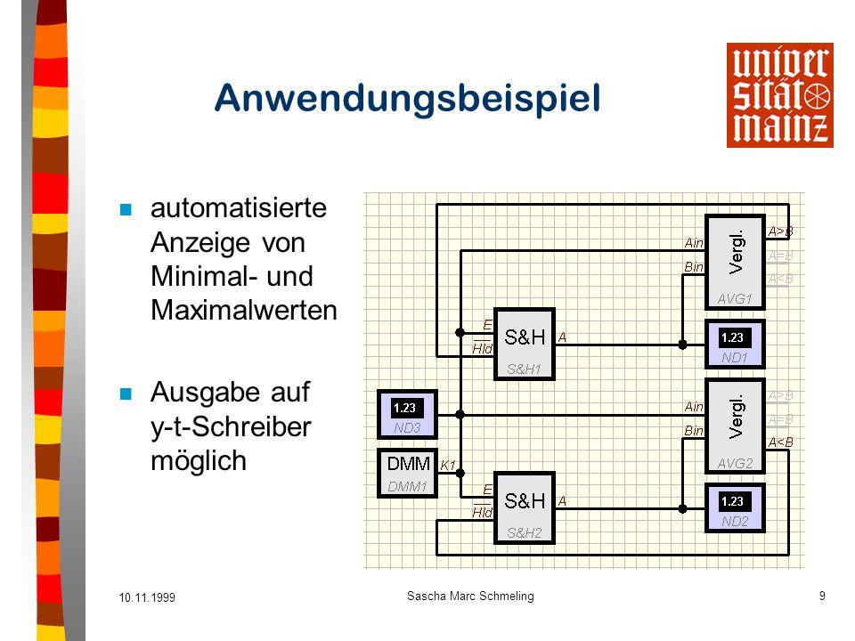 10.11.1999 Sascha Marc Schmeling9 Anwendungsbeispiel n automatisierte Anzeige von Minimal- und Maximalwerten n Ausgabe auf y-t-Schreiber möglich