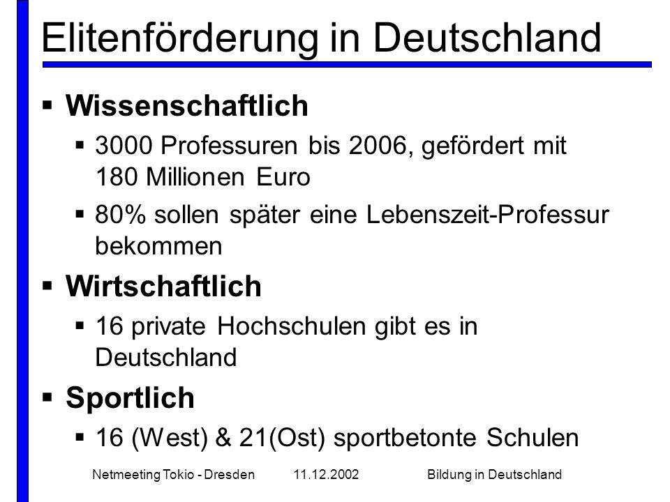 Netmeeting Tokio - Dresden11.12.2002Bildung in Deutschland Elitenförderung in Deutschland  Wissenschaftlich  3000 Professuren bis 2006, gefördert mit 180 Millionen Euro  80% sollen später eine Lebenszeit-Professur bekommen  Wirtschaftlich  16 private Hochschulen gibt es in Deutschland  Sportlich  16 (West) & 21(Ost) sportbetonte Schulen