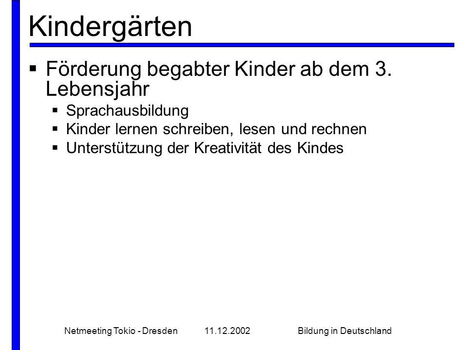 Netmeeting Tokio - Dresden11.12.2002Bildung in Deutschland Schule - Gymnasium Sankt Afra  Erstmals am 3.