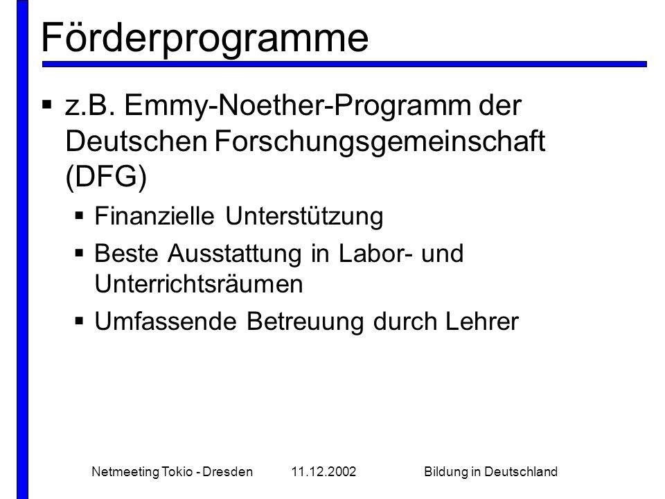 Netmeeting Tokio - Dresden11.12.2002Bildung in Deutschland wirtschaftlich orientiert  eigene Auswahltests  Sonderstellung in Deutschland  hochrangige Wirtschaftsvertreter als Dozenten einzusetzen  bis zu 20 000 Euro Studiengebühren