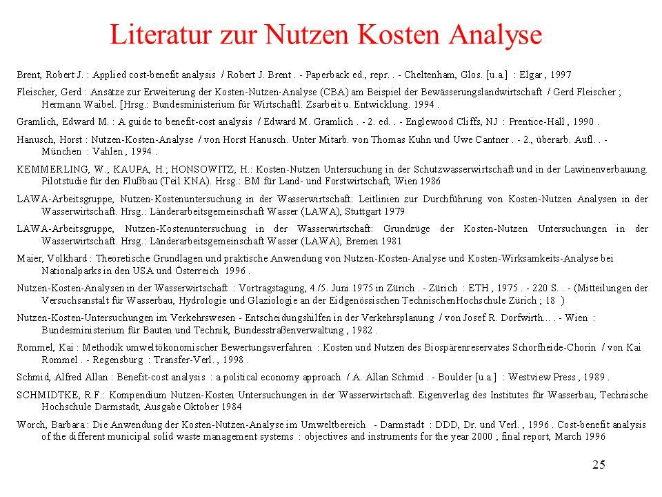 25 Literatur zur Nutzen Kosten Analyse