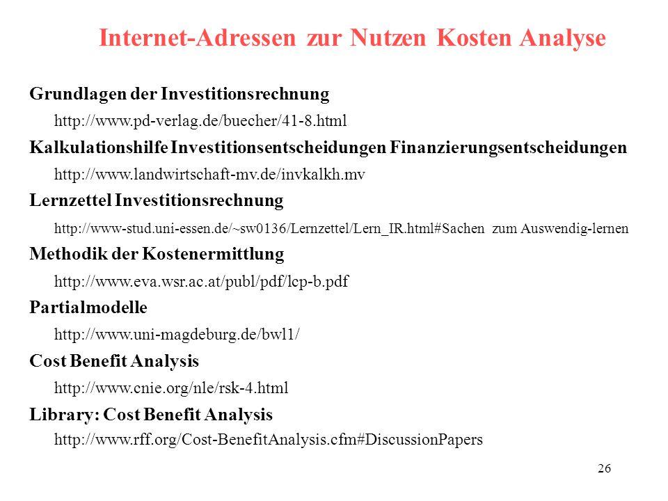 26 Internet-Adressen zur Nutzen Kosten Analyse Grundlagen der Investitionsrechnung http://www.pd-verlag.de/buecher/41-8.html Kalkulationshilfe Investi