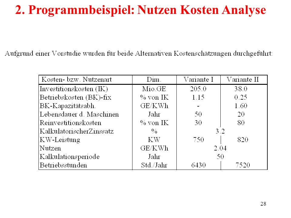 28 2. Programmbeispiel: Nutzen Kosten Analyse