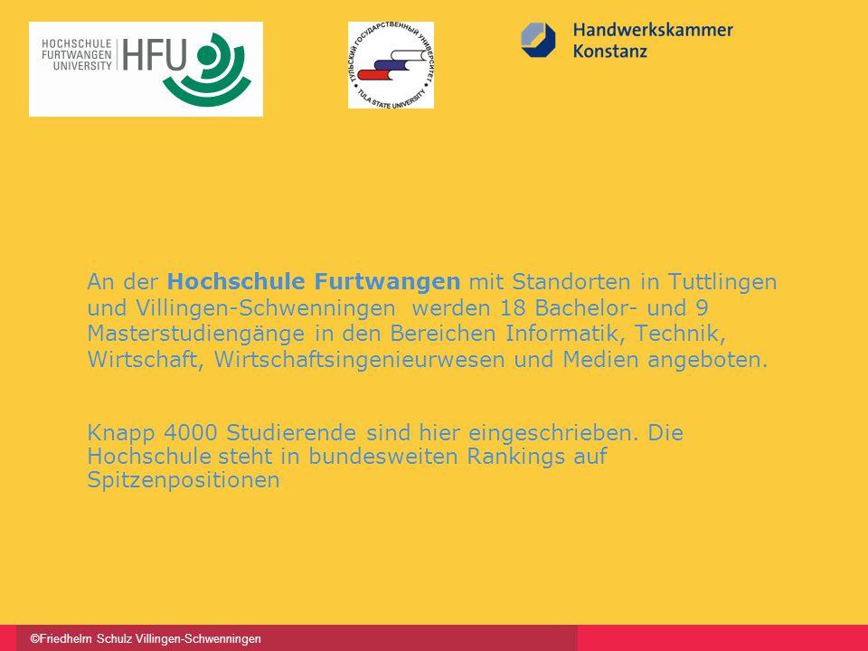 ©Friedhelm Schulz Villingen-Schwenningen An der Hochschule Furtwangen mit Standorten in Tuttlingen und Villingen-Schwenningen werden 18 Bachelor- und 9 Masterstudiengänge in den Bereichen Informatik, Technik, Wirtschaft, Wirtschaftsingenieurwesen und Medien angeboten.