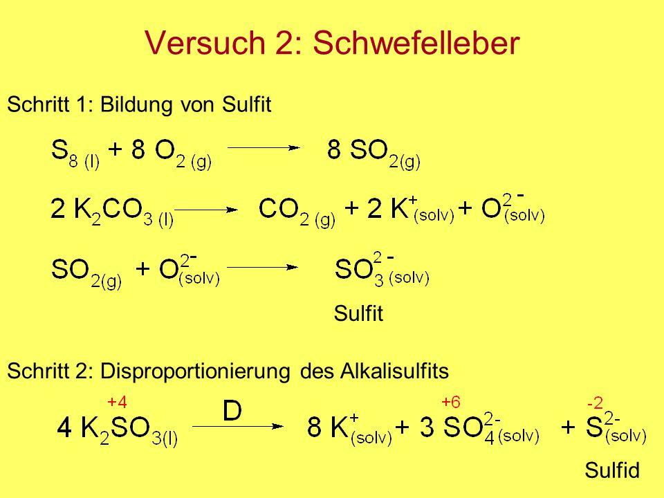 Versuch 2: Schwefelleber Schritt 1: Bildung von Sulfit Sulfit Schritt 2: Disproportionierung des Alkalisulfits Sulfid