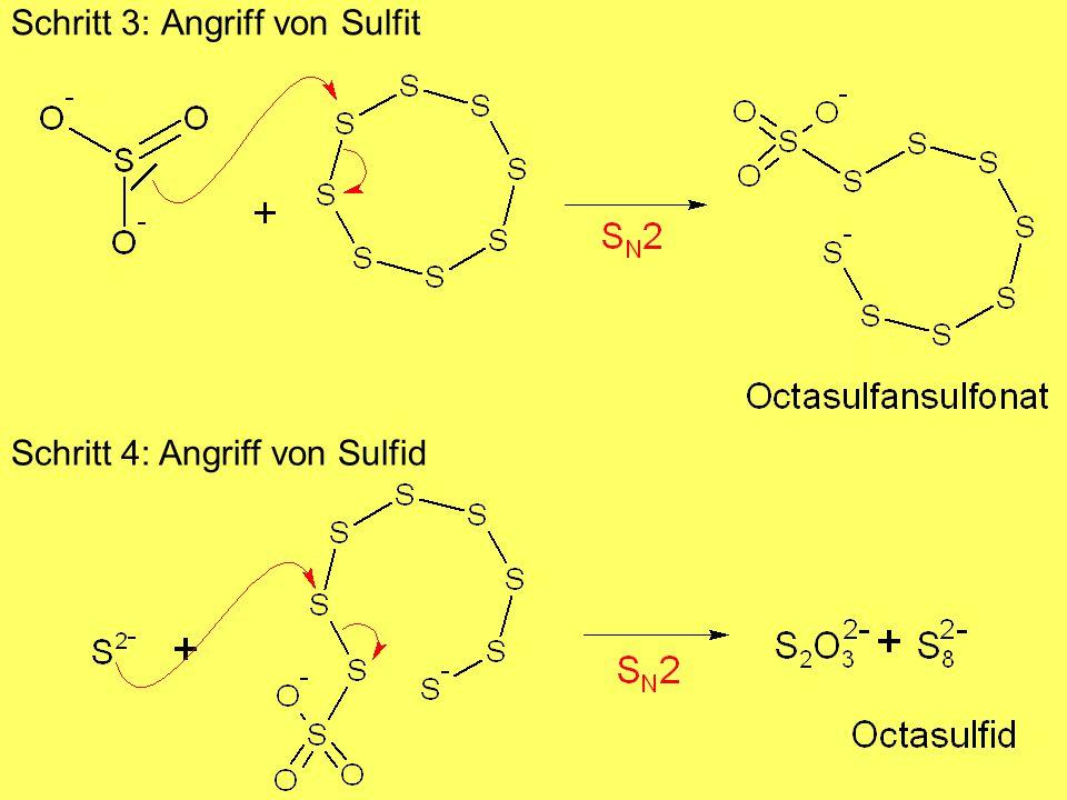 Schritt 3: Angriff von Sulfit Schritt 4: Angriff von Sulfid