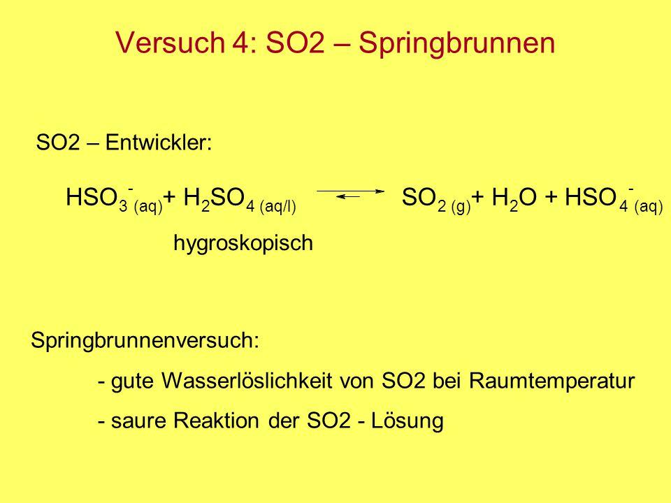 Versuch 4: SO2 – Springbrunnen Springbrunnenversuch: - gute Wasserlöslichkeit von SO2 bei Raumtemperatur - saure Reaktion der SO2 - Lösung SO2 – Entwi
