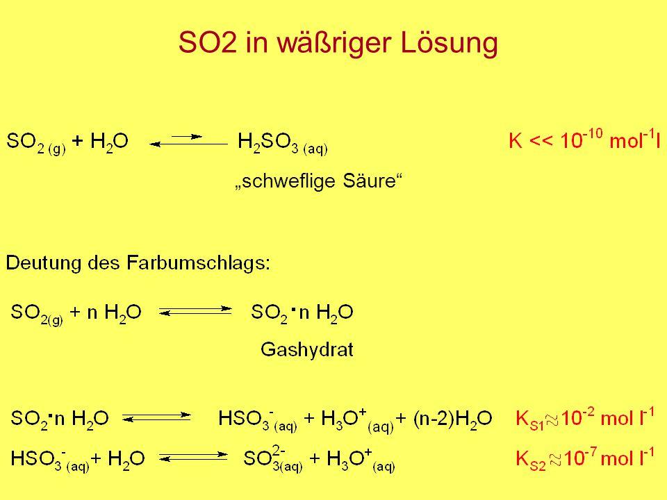 """SO2 in wäßriger Lösung """"schweflige Säure"""""""