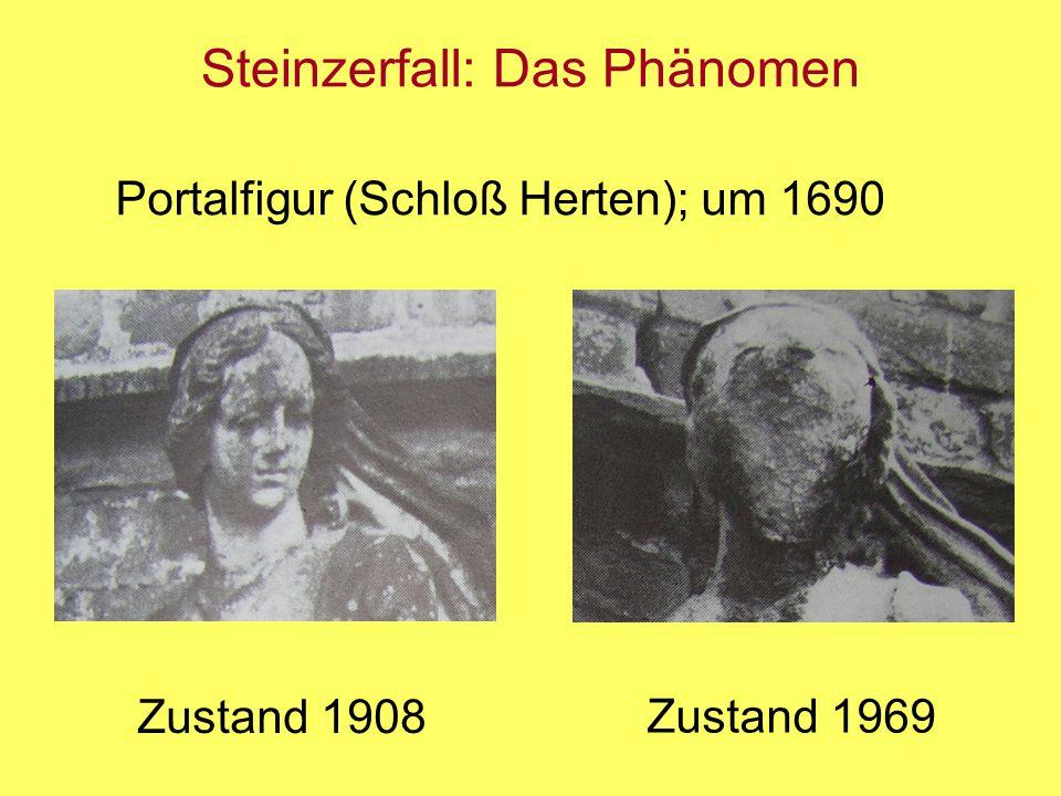 Steinzerfall: Das Phänomen Portalfigur (Schloß Herten); um 1690 Zustand 1908 Zustand 1969