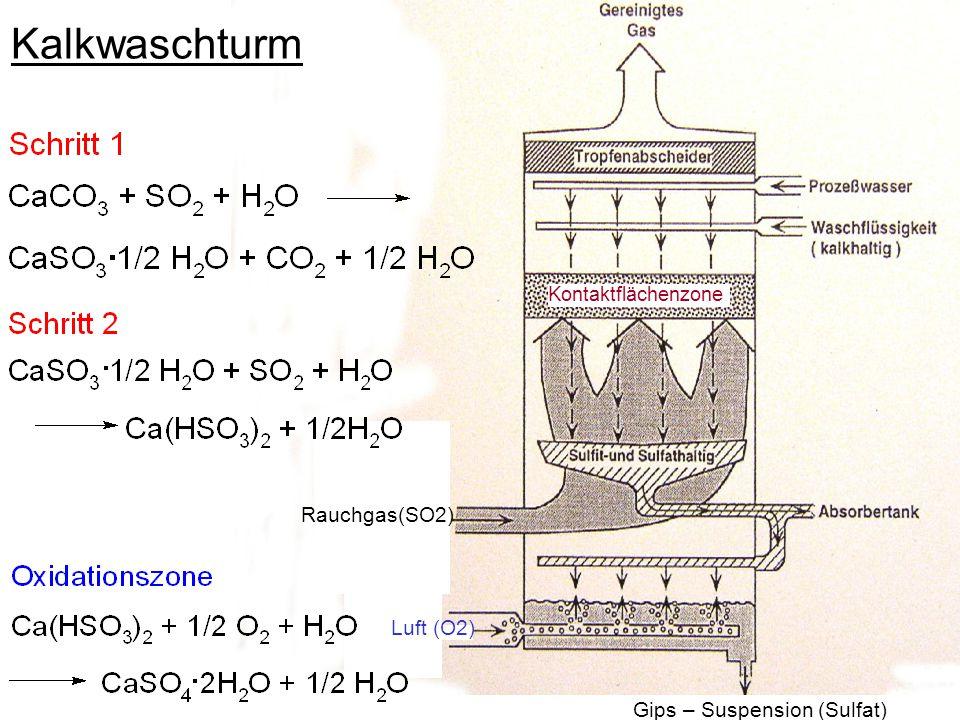 Gips – Suspension (Sulfat) Kontaktflächenzone Luft (O2) Rauchgas(SO2) Kalkwaschturm