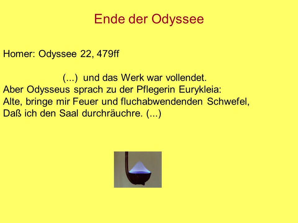 Ende der Odyssee Homer: Odyssee 22, 479ff (...) und das Werk war vollendet. Aber Odysseus sprach zu der Pflegerin Eurykleia: Alte, bringe mir Feuer un