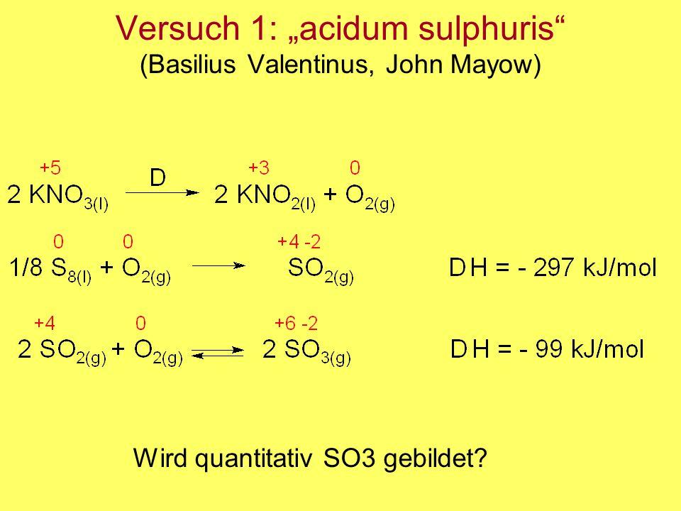 """Versuch 1: """"acidum sulphuris"""" (Basilius Valentinus, John Mayow) Wird quantitativ SO3 gebildet?"""