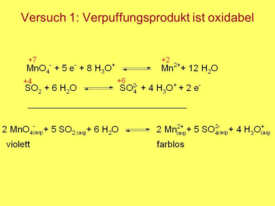 Versuch 1: Verpuffungsprodukt ist oxidabel