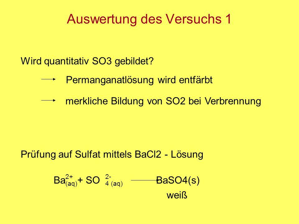 Auswertung des Versuchs 1 Prüfung auf Sulfat mittels BaCl2 - Lösung Ba + SO BaSO4(s) (aq) weiß 4 (aq) 2+2- Permanganatlösung wird entfärbt merkliche B