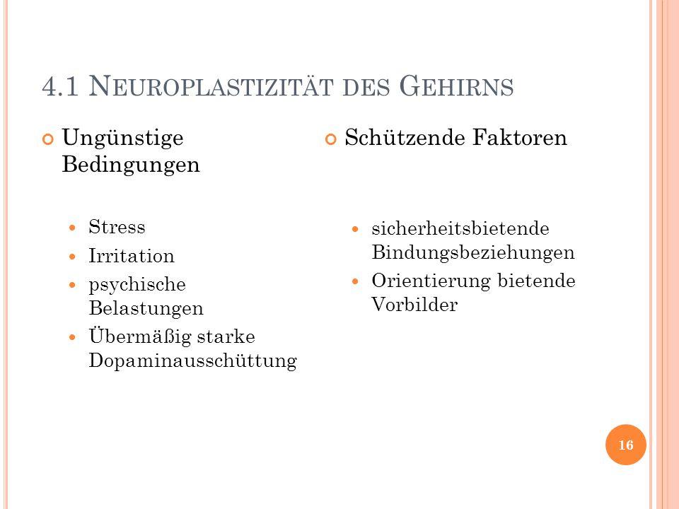 4.1 N EUROPLASTIZITÄT DES G EHIRNS 16 Ungünstige Bedingungen Stress Irritation psychische Belastungen Übermäßig starke Dopaminausschüttung Schützende
