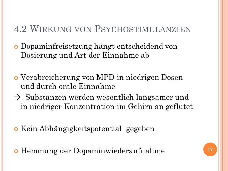 4.2 W IRKUNG VON P SYCHOSTIMULANZIEN Dopaminfreisetzung hängt entscheidend von Dosierung und Art der Einnahme ab Verabreicherung von MPD in niedrigen