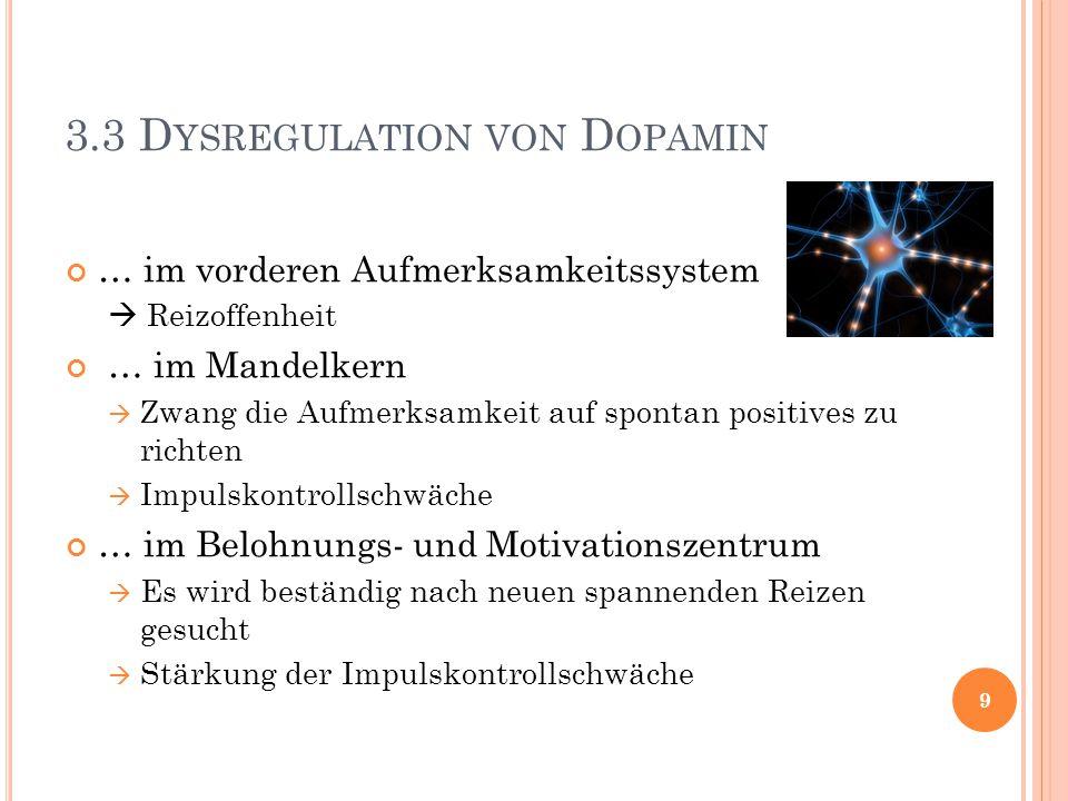 3.3 D YSREGULATION VON D OPAMIN … im vorderen Aufmerksamkeitssystem  Reizoffenheit … im Mandelkern  Zwang die Aufmerksamkeit auf spontan positives z