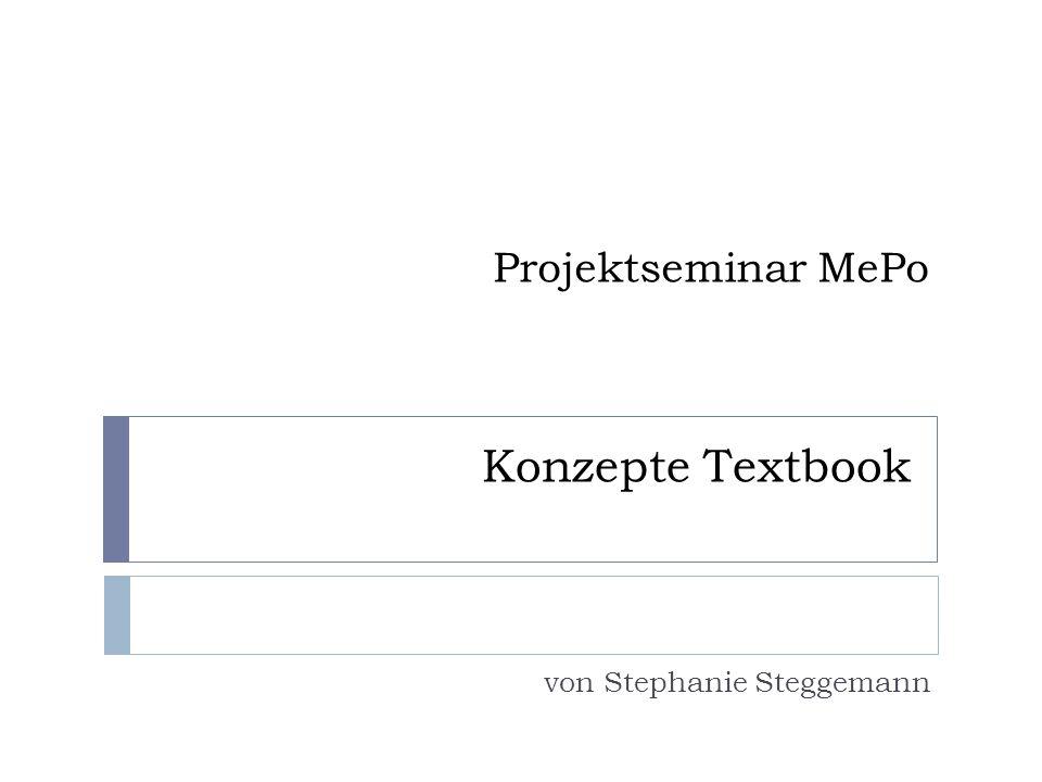 Projektseminar MePo von Stephanie Steggemann Konzepte Textbook